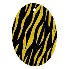 Skin3 Black Marble & Yellow Colored Pencil (r) Oval Ornament (two Sides)