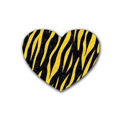 Skin3 Black Marble & Yellow Colored Pencil (r) Heart Coaster (4 Pack)