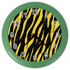 Skin3 Black Marble & Yellow Colored Pencil (r) Color Wall Clocks