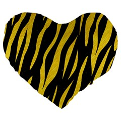 Skin3 Black Marble & Yellow Colored Pencil (r) Large 19  Premium Flano Heart Shape Cushions