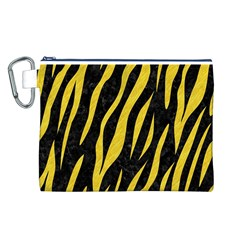 Skin3 Black Marble & Yellow Colored Pencil (r) Canvas Cosmetic Bag (l)