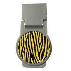 Skin4 Black Marble & Yellow Colored Pencil Money Clips (round)