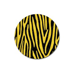 Skin4 Black Marble & Yellow Colored Pencil Magnet 3  (round)