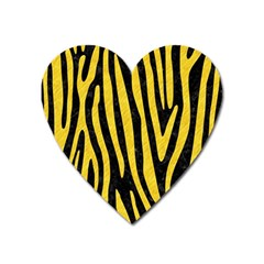 Skin4 Black Marble & Yellow Colored Pencil Heart Magnet