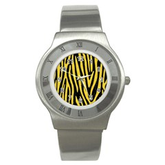 Skin4 Black Marble & Yellow Colored Pencil Stainless Steel Watch
