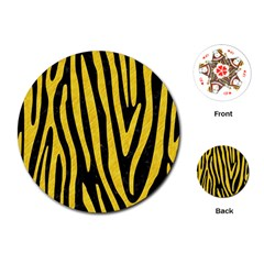 Skin4 Black Marble & Yellow Colored Pencil Playing Cards (round)