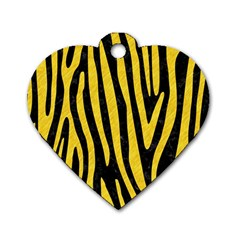 Skin4 Black Marble & Yellow Colored Pencil Dog Tag Heart (two Sides)