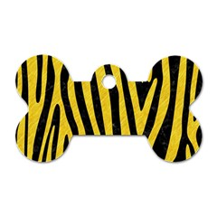 Skin4 Black Marble & Yellow Colored Pencil Dog Tag Bone (one Side)