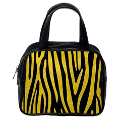 Skin4 Black Marble & Yellow Colored Pencil Classic Handbags (one Side)