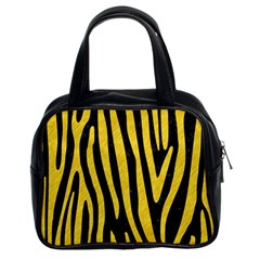 Skin4 Black Marble & Yellow Colored Pencil Classic Handbags (2 Sides)