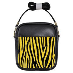 Skin4 Black Marble & Yellow Colored Pencil Girls Sling Bags