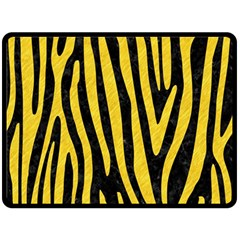Skin4 Black Marble & Yellow Colored Pencil Fleece Blanket (large)