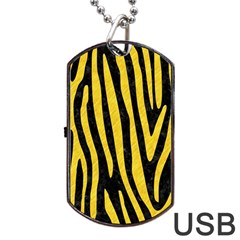 Skin4 Black Marble & Yellow Colored Pencil Dog Tag Usb Flash (one Side)