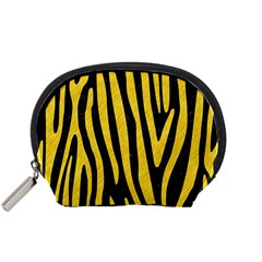 Skin4 Black Marble & Yellow Colored Pencil Accessory Pouches (small)