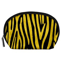 Skin4 Black Marble & Yellow Colored Pencil Accessory Pouches (large)