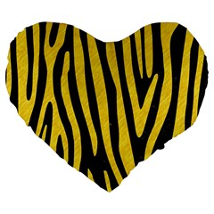 Skin4 Black Marble & Yellow Colored Pencil Large 19  Premium Flano Heart Shape Cushions