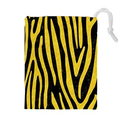 Skin4 Black Marble & Yellow Colored Pencil Drawstring Pouches (extra Large)