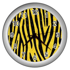 Skin4 Black Marble & Yellow Colored Pencil (r) Wall Clocks (silver)