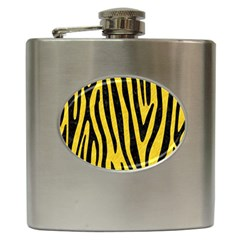 Skin4 Black Marble & Yellow Colored Pencil (r) Hip Flask (6 Oz)
