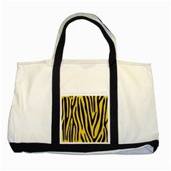 Skin4 Black Marble & Yellow Colored Pencil (r) Two Tone Tote Bag