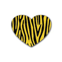 Skin4 Black Marble & Yellow Colored Pencil (r) Rubber Coaster (heart)