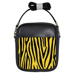 Skin4 Black Marble & Yellow Colored Pencil (r) Girls Sling Bags