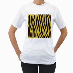 Skin4 Black Marble & Yellow Colored Pencil (r) Women s T Shirt (white)