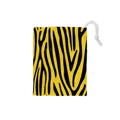Skin4 Black Marble & Yellow Colored Pencil (r) Drawstring Pouches (small)