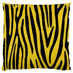 Skin4 Black Marble & Yellow Colored Pencil (r) Large Flano Cushion Case (one Side)