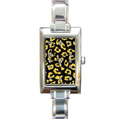 Skin5 Black Marble & Yellow Colored Pencil Rectangle Italian Charm Watch