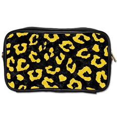 Skin5 Black Marble & Yellow Colored Pencil Toiletries Bags 2 Side