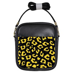 Skin5 Black Marble & Yellow Colored Pencil Girls Sling Bags