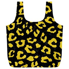 Skin5 Black Marble & Yellow Colored Pencil Full Print Recycle Bags (l)