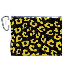 Skin5 Black Marble & Yellow Colored Pencil Canvas Cosmetic Bag (xl)