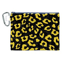 Skin5 Black Marble & Yellow Colored Pencil Canvas Cosmetic Bag (xxl)