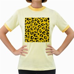 Skin5 Black Marble & Yellow Colored Pencil (r) Women s Fitted Ringer T Shirts