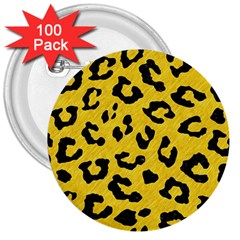 Skin5 Black Marble & Yellow Colored Pencil (r) 3  Buttons (100 Pack)