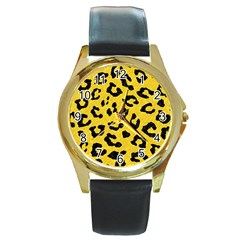 Skin5 Black Marble & Yellow Colored Pencil (r) Round Gold Metal Watch