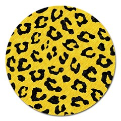 Skin5 Black Marble & Yellow Colored Pencil (r) Magnet 5  (round)