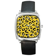 Skin5 Black Marble & Yellow Colored Pencil (r) Square Metal Watch