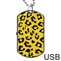Skin5 Black Marble & Yellow Colored Pencil (r) Dog Tag Usb Flash (two Sides)