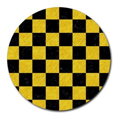 Square1 Black Marble & Yellow Colored Pencil Round Mousepads