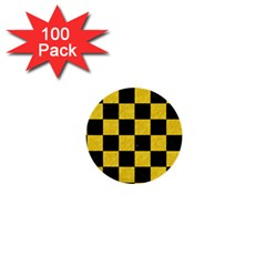 Square1 Black Marble & Yellow Colored Pencil 1  Mini Buttons (100 Pack)