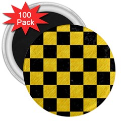 Square1 Black Marble & Yellow Colored Pencil 3  Magnets (100 Pack)