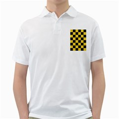 Square1 Black Marble & Yellow Colored Pencil Golf Shirts