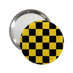 Square1 Black Marble & Yellow Colored Pencil 2 25  Handbag Mirrors