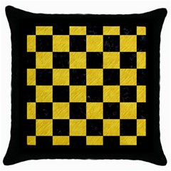 Square1 Black Marble & Yellow Colored Pencil Throw Pillow Case (black)
