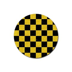 Square1 Black Marble & Yellow Colored Pencil Rubber Round Coaster (4 Pack)