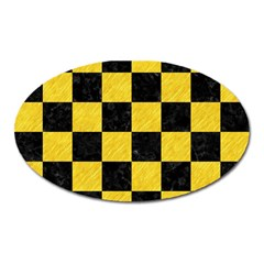Square1 Black Marble & Yellow Colored Pencil Oval Magnet