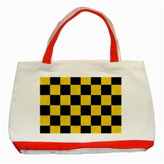 Square1 Black Marble & Yellow Colored Pencil Classic Tote Bag (red)